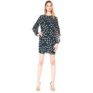 Donna Morgan floral shift dress with ruffle neck